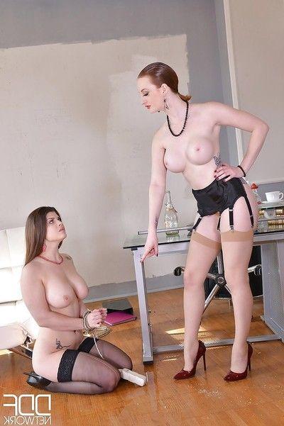 Woman-on-woman femdom-goddess slaps and spanks feeble female sooner than urination in gullet