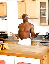 Busty interracial lover Joslyn James sucks big black cock in cuckold scene